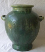 "Majestic 13"" Fulper vase with a cucumber to Flemington green glaze and classic shape.  In excellent condition."
