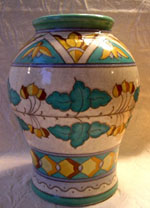 "Beautiful art deco inspired 9.5"" vase designed for Bursley Ware by Charlotte Rhead, model TL2.  Exquisite color and form.  In excellent condition."