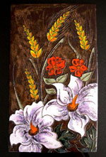 "Vibrant 23.5""by 8.75"" floral tile handmade by Ruscha Keramic, circa 1960s.  In excellent condition."