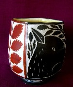 "Wonderfully executed 4"" folk inspired sgraffito porcelain teabowl by Matthew Metz.  Metz's pottery has been exhibited at galleries nationally and in Japan and can be found in the Minneapolis Institute of Arts and Archie Bray permanent collections.  In excellent condition."