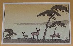 <p>Tranquil rare postcard size woodblock (4&quot; by 6&quot; unframed), 'Deer at Kinkazan' by Kawase Hasui, circa 1930s.  In excellent condition.  From the Robert Muller collection.</p>