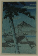 <p>Rare Muller collection postcard size woodblock print, &quot;Pine Beach at Miho&quot; by Kawase Hasui, circa 1930s. Framed size is 11&quot; by 13&quot;.&nbsp; In excellent condition.</p>