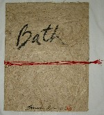 <p>Rare portfolio of three lithographs title  &quot;Bath&quot; by Sarah Brayer, 4/30, signed and dated 1987.&nbsp; The lithographs  were created in a small edition of 30 in honor of Brayer's 30th  birthday. It is made of handmade washi with a red obi.&nbsp; The prints are  titled, Bath, Scrub and Rinse. Each are handsigned and numbered. The  portfolio measures 20 3/8&quot; by 15.5&quot;.&nbsp; The lithographs are 18.25&quot; by 19  5/8&quot;.&nbsp; Framed size is 20&quot; by 22&quot;. They are in excellent condition.</p>