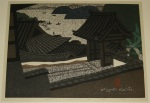 <p>Rare Japanese woodblock print, &quot; Hirato Nagasaki (A)&quot; by Kiyoshi Saito, 10/100, dated 1965.&nbsp; One of the few prints by Saito that features boats.&nbsp; Framed size is 23.5&quot; by 39&quot;.&nbsp; In excellent condition.</p>