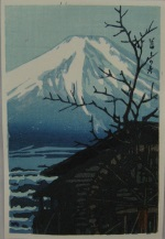 <p>Kawase Hasui postcard size woodblock print, &quot;Fuji in Winter&quot;, circa 1930s.&nbsp; Published by Wantanabe, our print is in excellent condition.&nbsp; Framed size is 11&quot; by 13&quot;.</p>