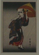 <p>Miniature woodblock print, &quot;Bijin Walking in Rain with Umbrella&quot;, unknown artist, circa 1920s.&nbsp; From the Robert Muller collection. In excellent condition.&nbsp; Framed size is 7&quot; by 9&quot;.</p>