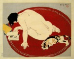 <p>First edition woodblock print, &quot;Leisure Time&quot; by Toraji Ishikawa from, 'Ten Types of Female Nudes', 1934. Originally banned in Japan, Moga or modern girl prints were seen as an attempt to display the old traditional subject of bijin in a modern context and in the style of the shin hanga art movement.&nbsp; The woodblock is in excellent condition.&nbsp; Framed size is 21&quot; by 24&quot;.</p>