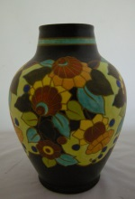 <p>Beautiful matte enamel 12.5&quot; Boch Freres Keramis vase, D1845, F909, signed by Bonzutii, 1934.  In excellent condition.</p>