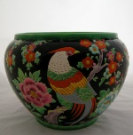 "<p>Stunning Boch Freres Keramis 9.5"" by 12"" jardiniere with peacock and floral decor, D1760, F242/3, 1933. In excellent condition.</p>