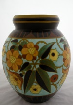 "<p>Monumental matte enamel 13.75"" vase from Boch Freres Keramis, D1847, F951, 1934. In excellent condition with just a few glaze pops. We are unable to identify the initials of the designer.</p>