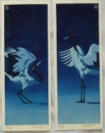 <p>Stunning woodblock dyptych, &quot;Getsumei no Mai&quot; or &quot;Moonlight dance&quot;, 2014.&nbsp; In excellent condition.&nbsp; Framed size is 20&quot; by 18&quot;</p>