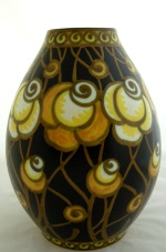 "<p>Fabulous 10"" vase designed by Charles Catteau for Boch Freres Keramis, D1366, F901, 1924. In excellent condition.</p>