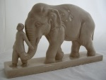 "<p>New at TOJ Gallery an L & V Ceram art deco faience craquelure figure of an elephant and trainer, circa 1930.  The sculpture is in excellent condtion and measures 17""L by 4""W and 10.5""H.</p>