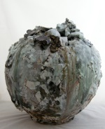 <p>Akiko Hirai 17&quot; by 16.5&quot; Moon Jar. Her generous moon jar is made from dark coarse clay with volcanic glazes flowing down the sides. In perfect condition, signed and created in 2016.</p>
